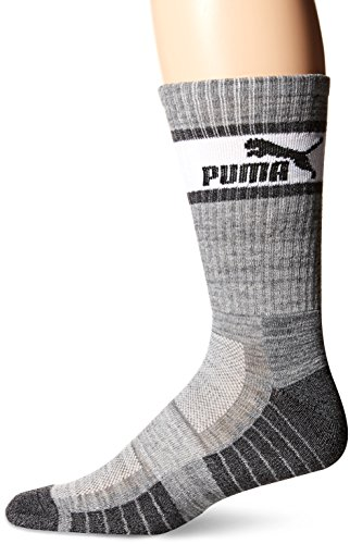 Puma Men's Crew Socks, 3 Pack (10-13, Heather Grey (3ZZ) / White/Dark Grey) (Socks Golf High)