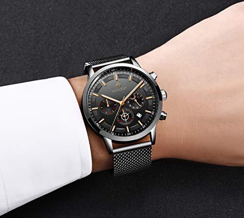Men's Watches Fashion Analog Quartz Watch Date Business Chronograph Dress Luxury Brand Black Leather Wristwatch Gents Sport Waterproof Wristwatch 15