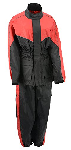 M-BOSS MOTORCYCLE APPAREL-BOS29601-BLK/RED-Unisex's two piece motorcycle rain gear.-BLK/RED-MEDIUM