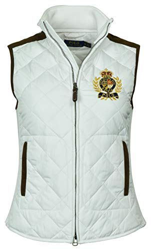 (Polo Ralph Lauren Women's Leather Trimmed Quilted Crest Logo Vest - XL - White)