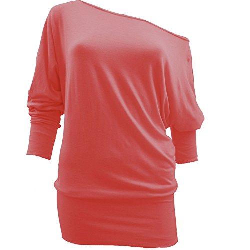 Camiseta hombro caído de manga 3/4 para mujer, estilo baggy, tallas UK tamaños 8–�?4 Coral