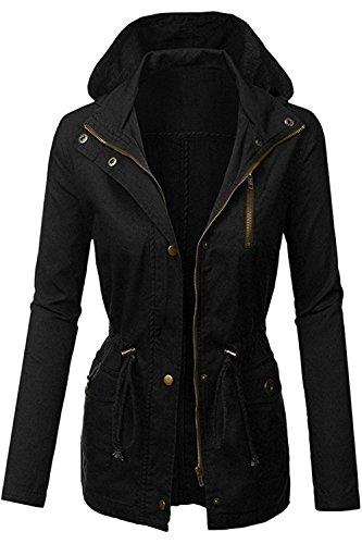 FASHION BOOMY Womens Zip Up Military Anorak Jacket W/Hood