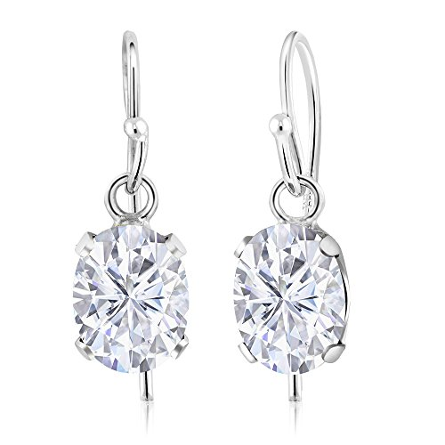 1.68 Ct Oval White Created Moissanite 925 Sterling Silver Earrings by Gem Stone King