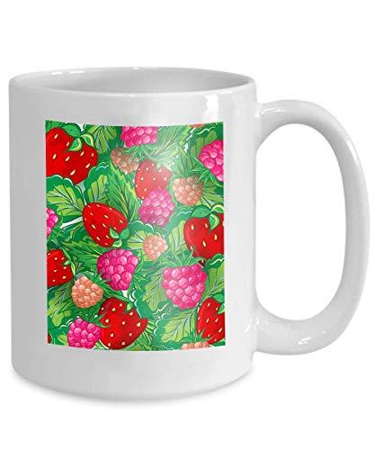 - mug coffee tea cup seamless pattern realistic image delicious ripe berries hand drawing raspberries strawberries 110z
