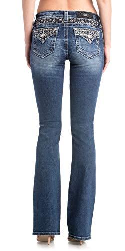 Pocket Embellished Back - Miss Me Women's Metallic Flowers Embellished Back Pocket Boot Cut Jeans (Medium Blue, 29)