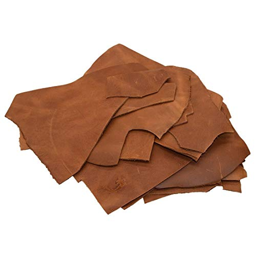(Hide & Drink, Cow Leather Chips & Scraps, Trimming Rustic Pieces (1.8mm), Craft & Workshop (1 Pound) :: Single Malt Mahogany )