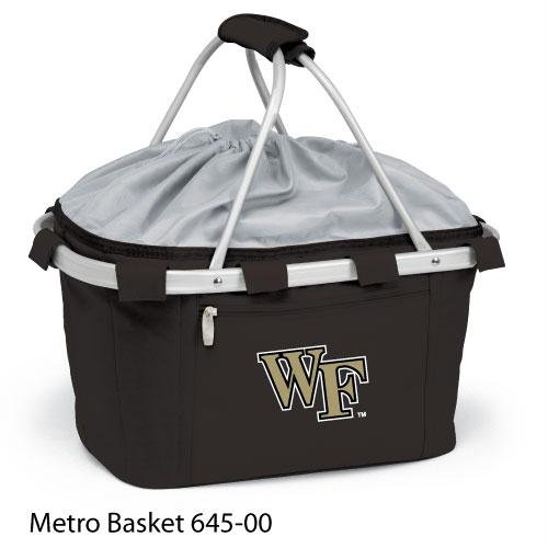 Metro Embroidered Basket (Picnic Time 645-00-175-612-0 Wake Forest University Embroidered Metro Picnic Basket, Black)
