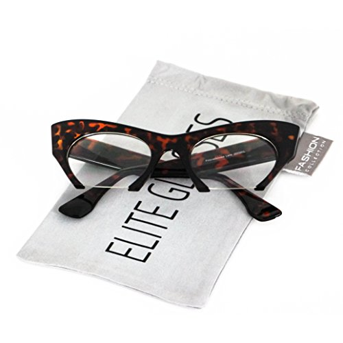 Cat Eye Eyeglasses Women Retro Vintage Razor Clear Lens Style Half Cut Off Frame (Brown Tortoise, - Eyeglasses Retro