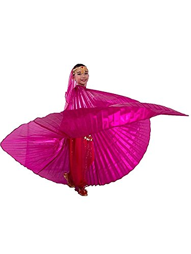 Children's Isis Costume (Isis Wings Kids Belly Dance Costume With Telescopic Sticks (Rose Red))