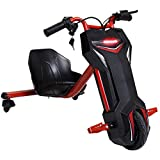 Charles Bentley 360 Electric 3 Wheeled Red & Black Swerve Trike Outdoor Drift Toy with 36V rechargeable lithium battery -