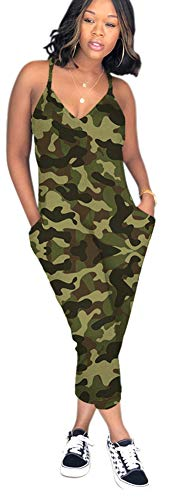 Vamvie Women Spgahetti Strap Floral Camouflage Print Casual Harem Jumpsuits with Pockets Green Camo XXL