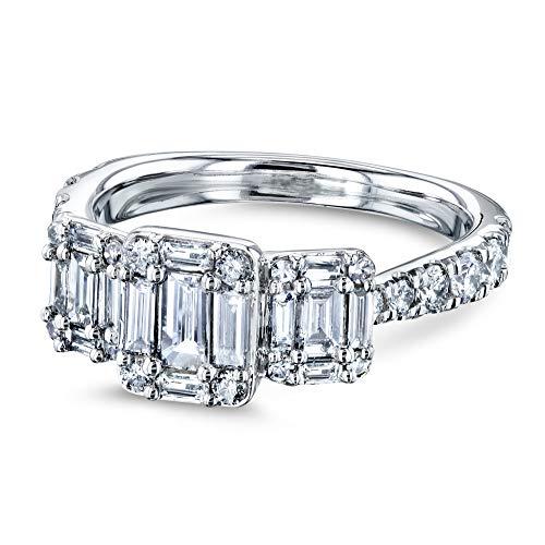 - 1 Carat TDW Triple Cluster Baguette Diamond Pinched Shank Engagement Ring 10k White Gold, 5