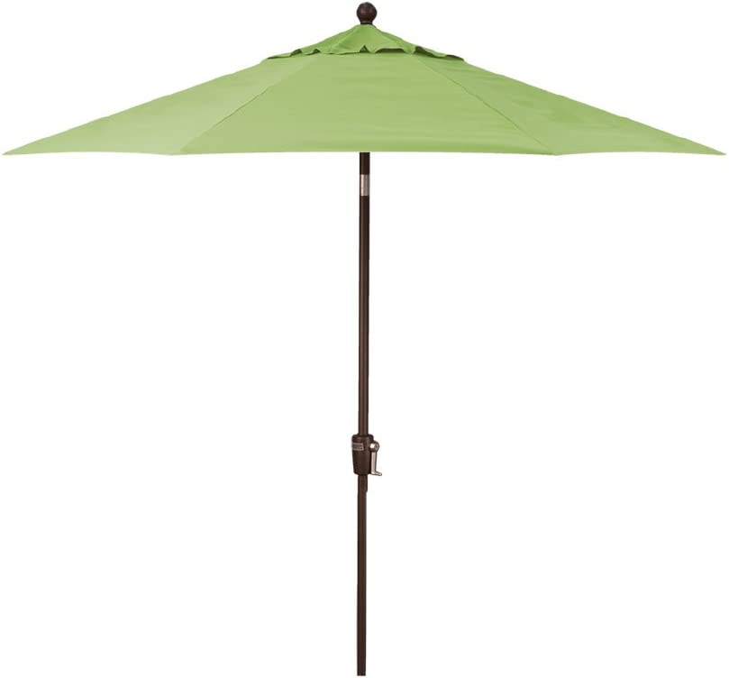 9-Foot Treasure Garden (Model 920) Push Button-Tilt Market Umbrella with Bronze Frame and Obravia2 Fabric: Kiwi