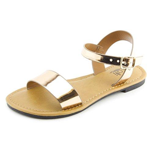 Kali Single Band Ankle Strap Flat Sandals (Rosegold, 8) by Kali