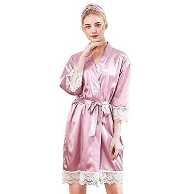 RAINED-Women's Kimono Robes Satin Pure Colour Short Style with Oblique V-Neck Robe Lace Trim Bathrobes Sleepwear