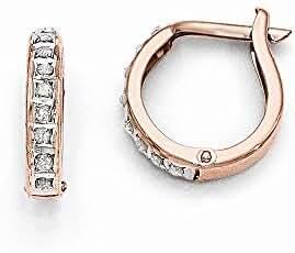 14k Rose Gold Diamond Fascination Round Hinged Hoop Earrings