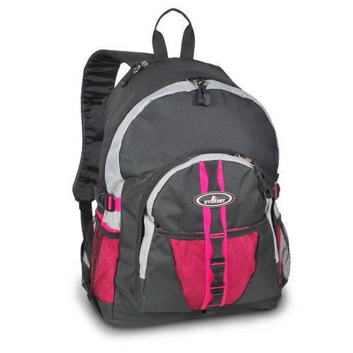 Everest 3045W Backpack w/Dual Mesh Pocket – Burgundy/Grey/Black, Bags Central