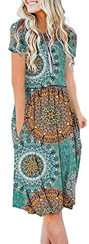- AUSELILY Women's Short Sleeve Pockets Empire Waist Pleated Loose Swing Casual Flare Dress (XL, H Print Green)