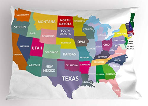(Ambesonne Map Pillow Sham, USA Map with Name of States in America Geography Cartography Theme, Decorative Standard King Size Printed Pillowcase, 36 X 20 Inches, Multicolor )