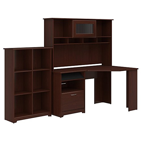 Fluted Cherry Pedestal - Bush Furniture Cabot Corner Desk with Hutch and 6 Cube Organizer in Harvest Cherry