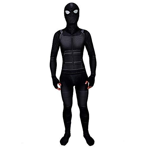 Spider-Man: Far from Home Black Stealth Suit Superhero Spiderman Hoodie Comics Hero Hood Costumes Cosplay for Kids & Adult (Kid S(90-110 cm/2.9-3.6 ft)) ()