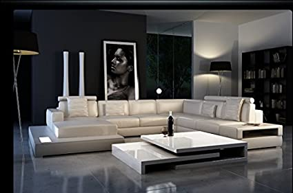 Amazon.com : Ultra Modern Leather Sectional Sofa with Built ...