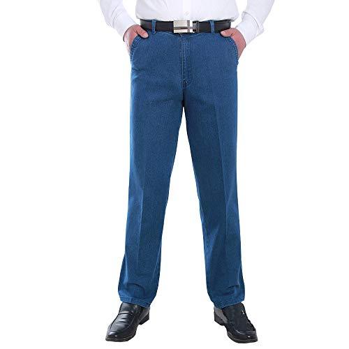 ZEVONDA Jeans - Jeans Rectos Sueltos de Otoño e Invierno Pantalones Cómodos de Cintura Alta para Hombres Azul Claro