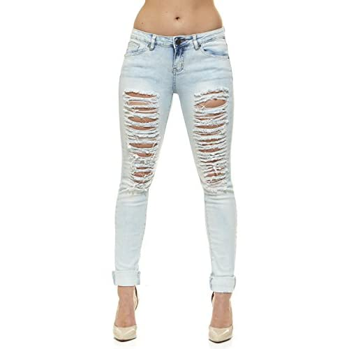 bc2407c1ec2d V.I.P.JEANS Ripped Distressed Skinny Mid-Rise Washed Jeans for Women 5  Bleached Denim Choices