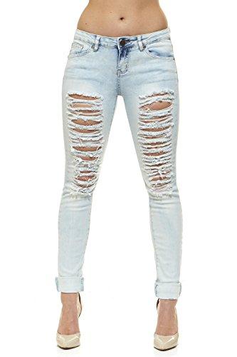 Bleached Skinny Jeans - V.I.P.JEANS Ripped Acid Bleached Jeans for Women Skinny LegPlus Size 16 White Bleach Denim