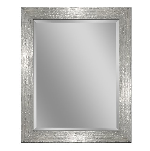 Headwest 8018 Driftwood Wall Mirror in Chrome and White, Chrome & -