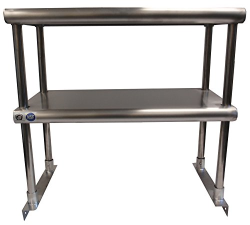 Johnson Rose 81298 Over Shelf for Work Table, Double Tier, 12'' x 96'', #430 Stainless Steel, 18 Gauge Top Stainless Steel Legs and Socket Easily Attaches to Work Tables by Johnson Rose