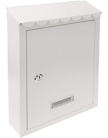 PrimeMatik - Buzón metálico para Cartas y Correo Postal de Color Blanco 210 x 60 x