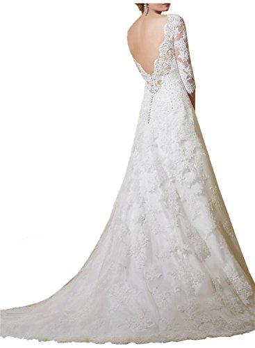 Milano Bride Elfenbein elegant Spitze Etui-kleider 3/4 Aermel Damen Hochzeitskleider Brautkleider Brautmode Hof-schleppe Neu
