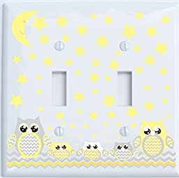 Grey and Yellow Owl Light Switch Plate Double Toggle / Owl Nursery Decor (Double Toggle Switch Plate)