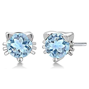 0.80 Ct Round 5mm Sky Blue Aquamarine 925 Sterling Silver Kitty Cat Stud Earrings