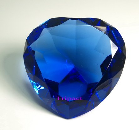 - Tripact 100mm Sapphire Blue Heart Crystal Diamond Jewel Paperweight 4 Inch