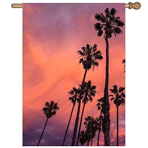 Welcome Floral Garden Flag One-sided Tall Palm Tree, Polyest