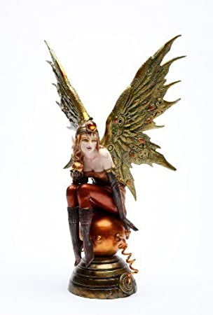 12 Inch Steampunk Fairy Sitting on Large Orbe Statue