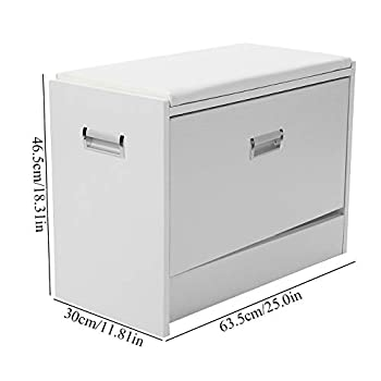 Shoe Bench Cabinet Rack with Cushion, Soft Pad Seat Wood Shoes Storage Organizer Closet Standing Rack Shelf Holder White