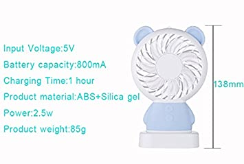 Hebey Ventilateur Rechargeable Portable Ventilateur De Refroidissement Mince Ventilateur L/éger /à LED Pour Le Voyage /à La Maison Int/érieur Ext/érieur Nfants Amis Ours Bleu Mini Ventilateur De Poche
