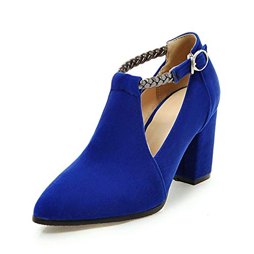 MEOTINA Women's T-Strap High Heels Pumps Pointed Toe Mary Jane Dress Shoes (US 10 =CN42 =Foot Length 26 cm, Blue) ()
