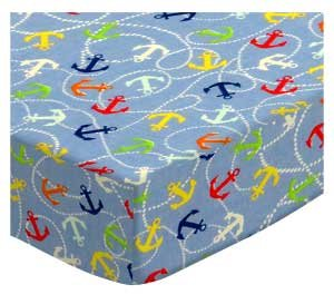 SheetWorld Fitted Cradle Sheet 18 x 36 - Nautical Blue - Made in USA by SHEETWORLD.COM