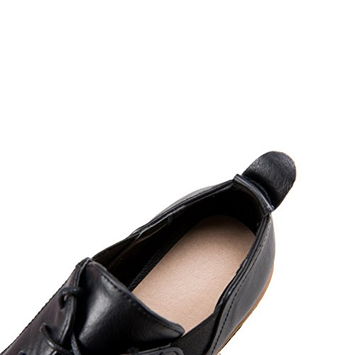 PU Low Lace Round Black Toe Solid Shoes Pumps WeenFashion Heels up Women's qxSnYwwat