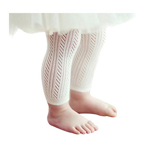 Qiyuxow Infant Toddler Girls Solid Knit Footless Leggings/Tights Socks (0-2T) White