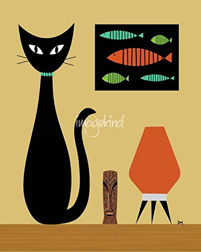 Imagekind Wall Art Print Entitled Cat On Tabletop by Donna Mibus