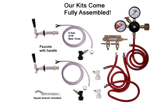 2 Faucet Fridge Kit with Shank, Tailpiece and Standard Faucet, Ball Lock, Chudnow by Kegconnetion - Faucet Ball