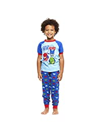 Jellifish Kids Boys 2-Piece Cotton PJ Set, Short-Sleeve Top and Jogger Pants, by