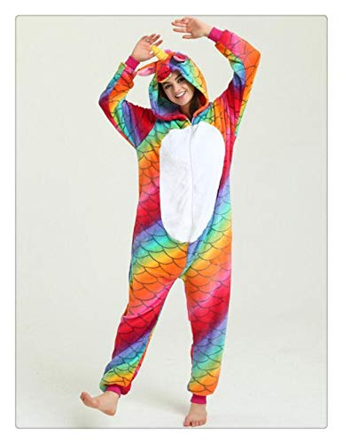 Women Pajamas Halloween Adult Animal Flannel Sleepwear Pajamas Set Pikachu Stitch Unicorn Panda Cartoon Hooded Pajamas Fish Scale Unicorn 1 XL]()
