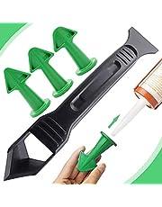 4 stuks breeuwen Nozzle Applicator en Schraper Set, XCOZU Sealant Afwerking Tool Siliconen Remover Tool, Siliconen Smoothing Tool Kit Grout Schraper voor Badkamer Keuken Kamer Vloer Hoek (Groen)