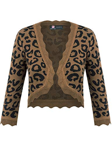 - KANCY KOLE Women's Plus Size Shrug Sweaters Vintage 3/4 Sleeve Open Front Cardigan Cropped Bolero (Leopard Brown,2XL)